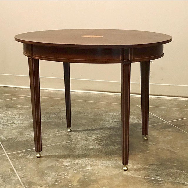 French Antique French Mahogany Directoire Inlaid End Table For Sale - Image 3 of 10