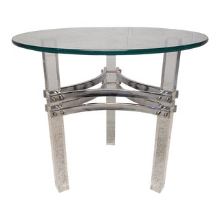 Charles Hollis Jones Lucite, Chrome and Glass End Table For Sale