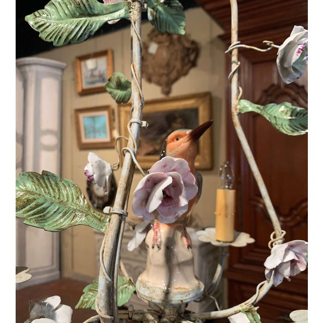 French Painted Chandelier With Porcelain Bird and Flowers For Sale In Dallas - Image 6 of 10