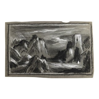 1930s Vintage Eliot Clark Himalayan Mountain Scene Impressionist Inspired Drawing For Sale