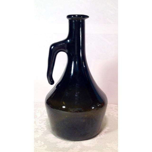 Vintage Italian Dark Green Wine Bottle For Sale - Image 4 of 8