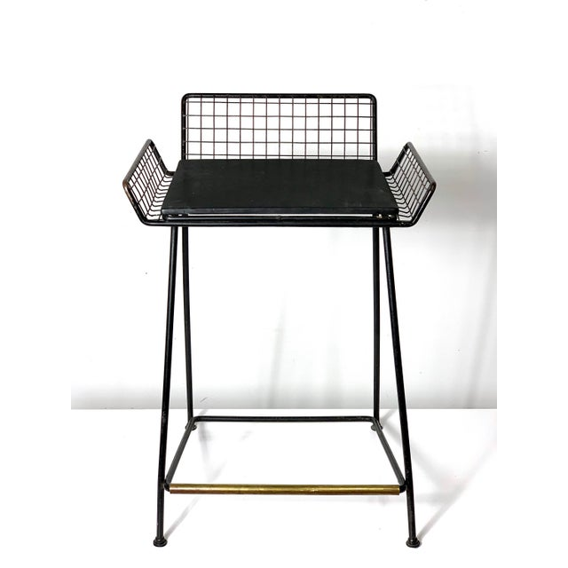 Contemporary 1960s Vintage Tony Paul Iron Wire Counter Bar Stool For Sale - Image 3 of 11
