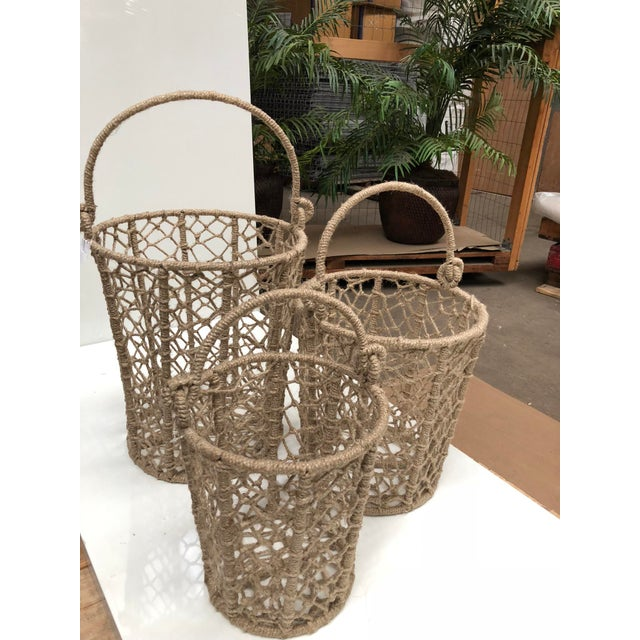 2010s Vintage Handcrafted Woven Jute Rope Buckets - Set of 3 For Sale - Image 5 of 8