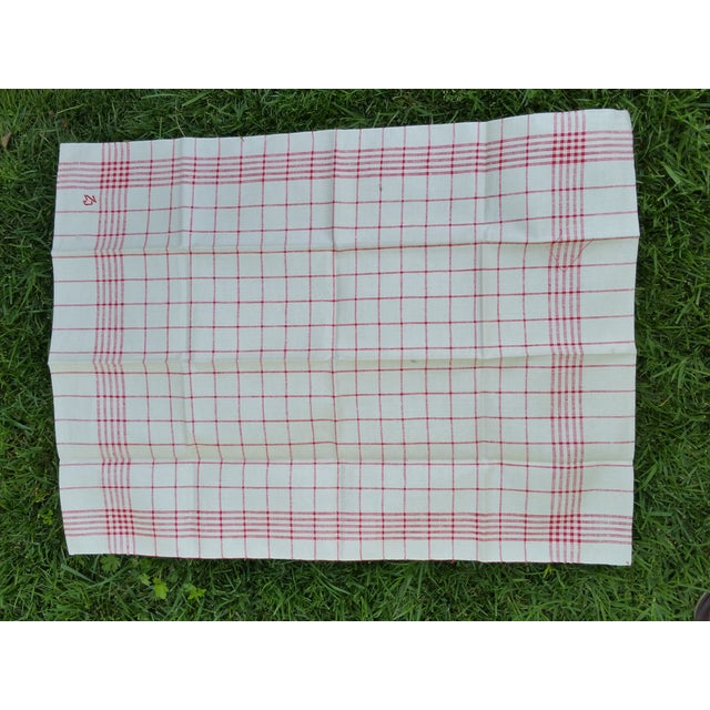 Antique 1920s Red Plaid Glass Cloths - Set of 6 For Sale - Image 4 of 5