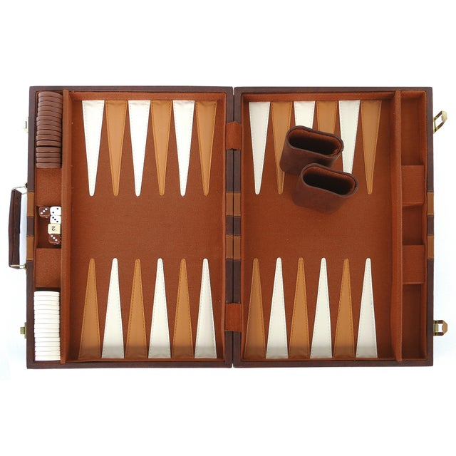 White Vintage Large Leatherette Backgammon Set W/ Travel Case For Sale - Image 8 of 8