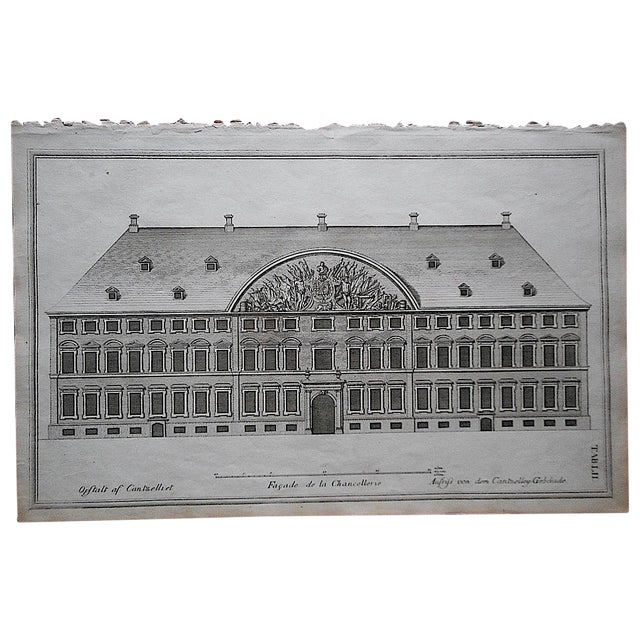 Antique Engraving Facade & Floorplan Lg. Folio - Image 1 of 3