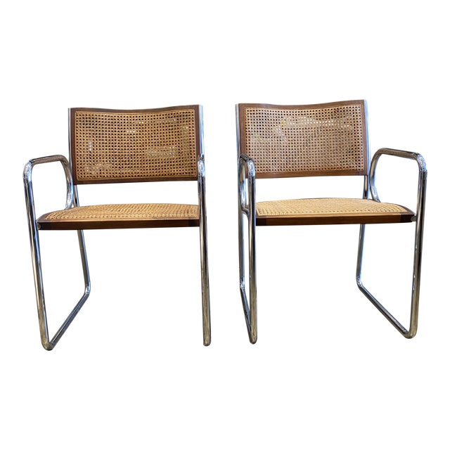 Vintage Chrome and Cane Chairs - a Pair For Sale