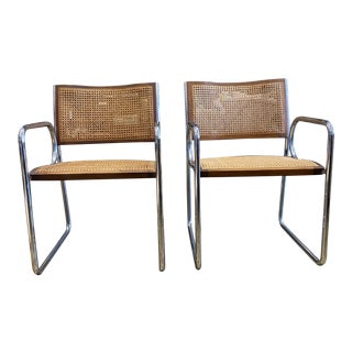 Vintage Chrome and Rattan Chairs - a Pair For Sale