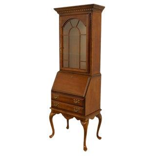 American Drew Drop-Front Secretary Desk W. Display Bookcase Hutch For Sale