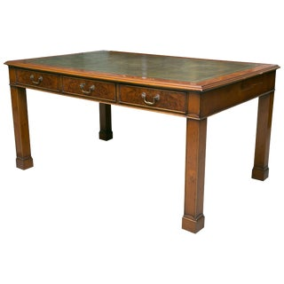 English Georgian Style Yew Wood Writing Table For Sale