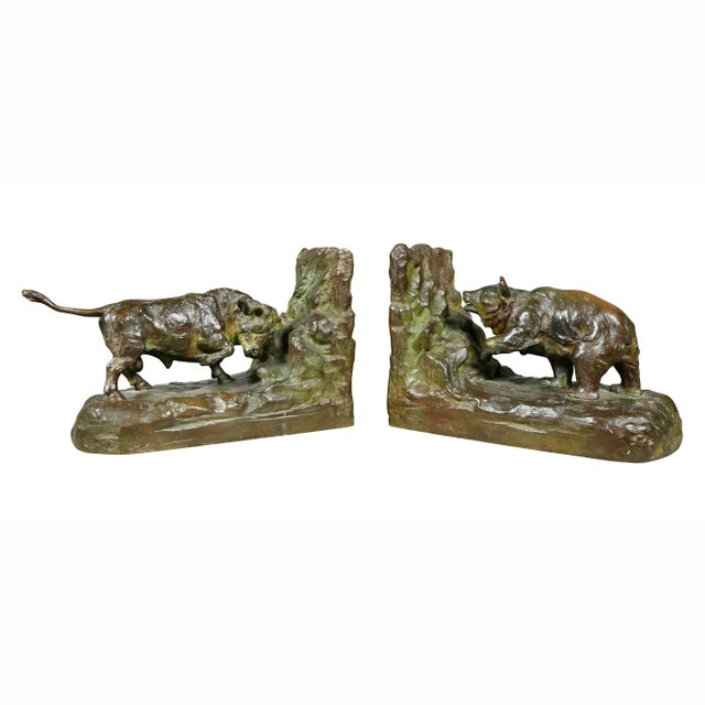 Bronze Animalier Bookends Retailed by Theodore B Starr Inc. - a Pair For Sale - Image 12 of 12