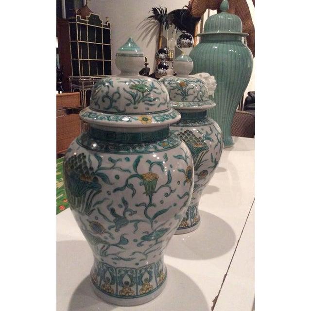 Ceramic Vintage Green Asian Oriental Greek Key Hollywood Regency Ginger Jars - a Pair For Sale - Image 7 of 11