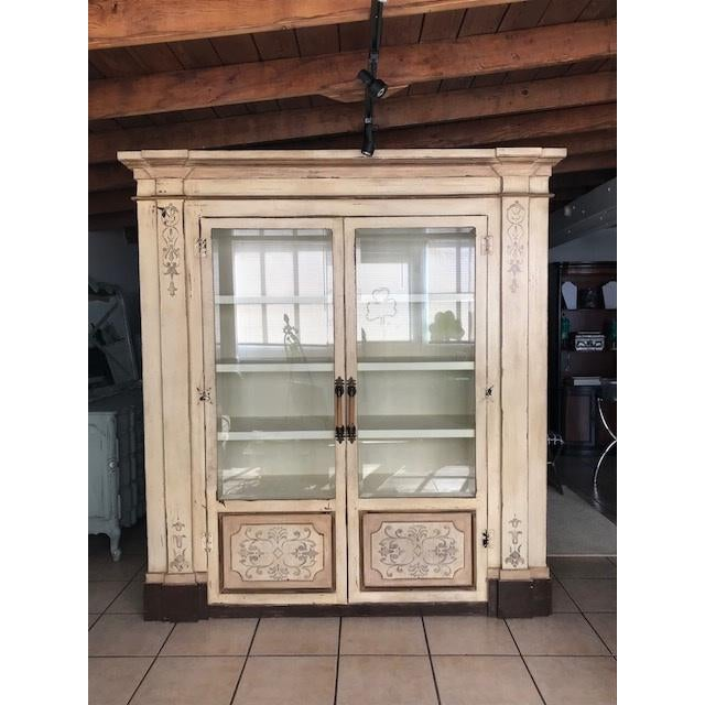 Wood Gray Stenciled Brazil Baroque Cabinet For Sale - Image 7 of 8