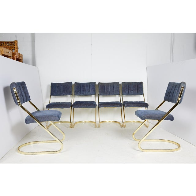 Set of Six Vintage Brass Cantilever Dining Chairs by Douglas Furniture For Sale - Image 12 of 12
