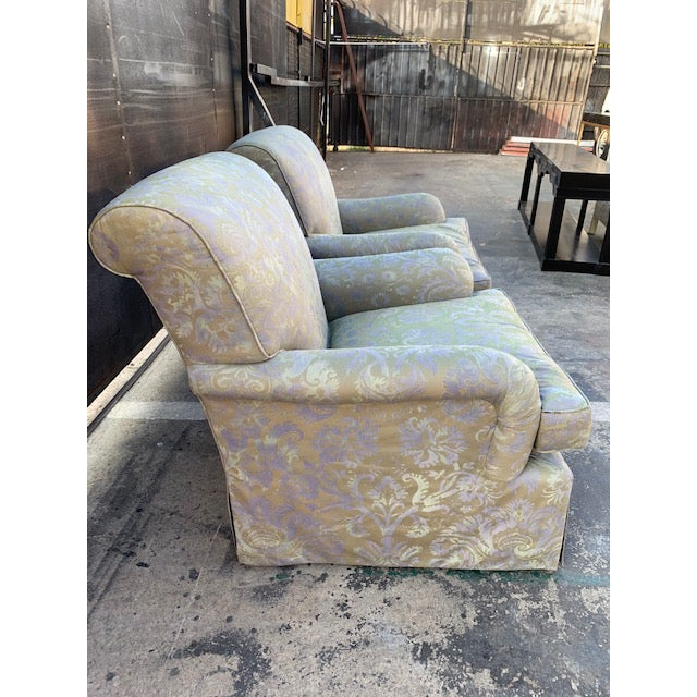 Italian Pair of Italian Fortuny Swivel Chairs For Sale - Image 3 of 10