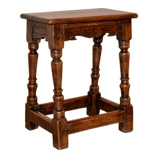 18th Century English Oak Joint Stool For Sale
