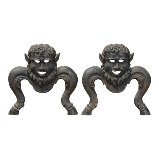 Cast Iron Character Andirons - A Pair For Sale