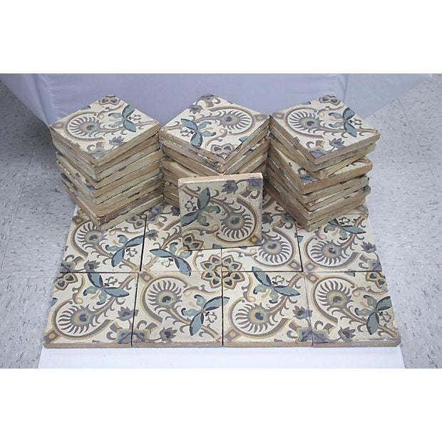 Antique French tiles salvaged from a house in Provence, France. Made circa 1880, butterfly pattern typical of the...