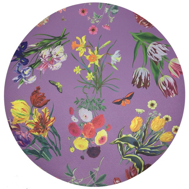 "Modern Nicolette Mayer Flora Fauna Orchid 16"" Round Pebble Placemats, Set of 4 For Sale - Image 3 of 3"