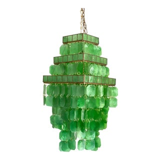 Mid-Century Modern 3 Tier Green Capiz Chandelier For Sale
