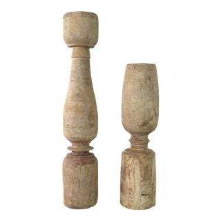 Modern Reclaimed Wood Candle Holders- A Pair For Sale