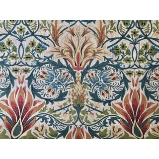 "Art Nouveau William Morris Style Fabricut ""Stoneybroke"" Linen Fabric - 7 Yards For Sale"