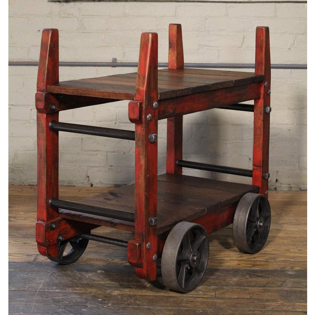 Brown Industrial Bar Cart For Sale - Image 8 of 12