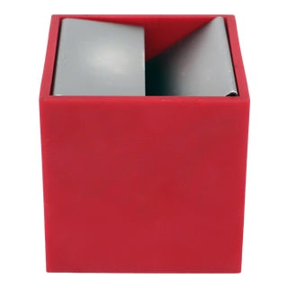 Red Cubo Ashtray by Bruno Munari for Danese Milano For Sale
