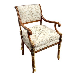 Elegant Empire Style Painted Armchair For Sale