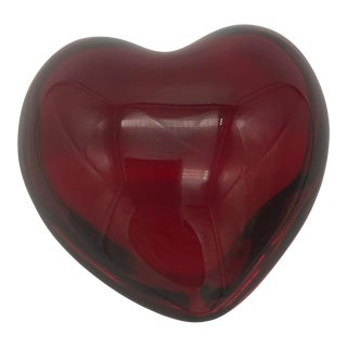 1990s Baccarat Puffed Heart Crystal Paperweight For Sale