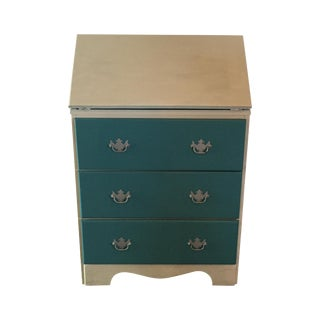 Shabby Chic Blue Painted Wooden Secretary Desk