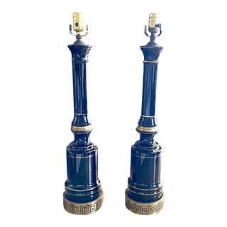 Mid Century, Hollywood Regency Greek Key Black Ceramic Lamps For Sale