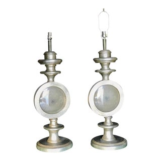 Oversize Italian Silver Leaf Table Lamps, Pair For Sale