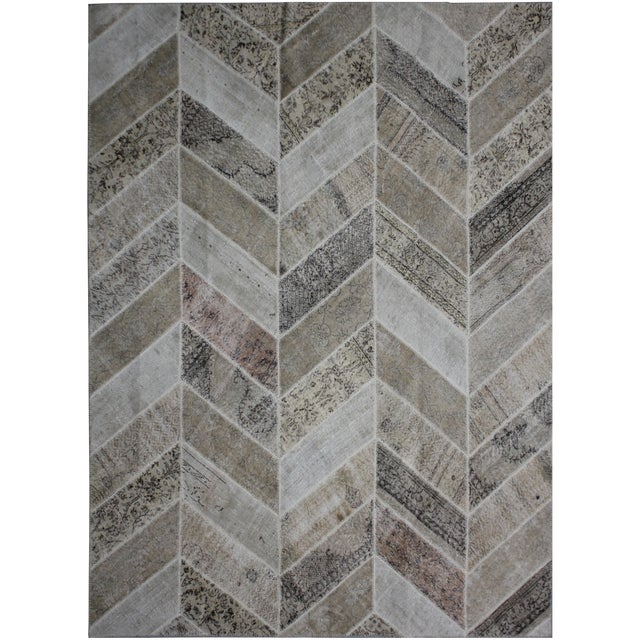 """Aara Rugs Inc. Hand Knotted Patchwork Rug - 9'11"""" X 8'2"""" For Sale"""
