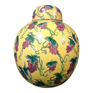Famille Jaune Ginger Jar With Grapes