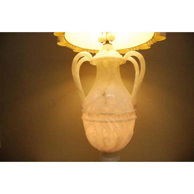 Circa 1950 Hand-Carved Italian Hollywood Regency Alabaster Lamp For Sale - Image 10 of 11