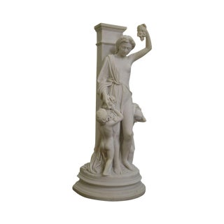 "Statue of Goddess ""Autumn"" Cold Cast Marble Figure of Woman and Two Cherubs With Grapes For Sale"