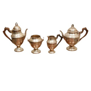 Antique Four Piece Silver Tea Set by L Posen For Sale