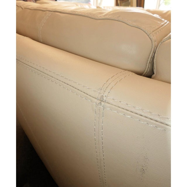 Bloomingdale's Chateau d'Ax Italian Leather Sectional Sofa With Ottoman For Sale - Image 9 of 12