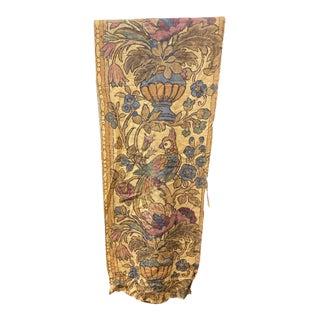 Vintage Hand Printed Linen Textile For Sale