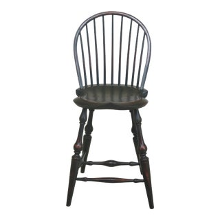1990s Vintage Dr Dimes Country Green Crackle Finish Windsor Chair For Sale