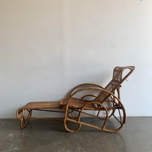 Wood Woven Cane Lounge Chair with Pull Out Foot Rest For Sale - Image 7 of 13