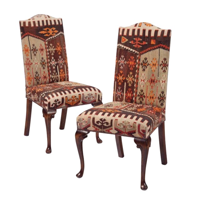 20th Century Kilim Upholstered Dining Chairs - Set of 8 For Sale