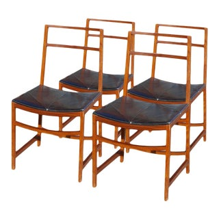 Rosewood and Leather Chairs by Renato Venturi for MiM For Sale