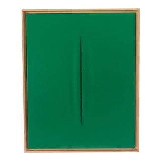 Unique Green Slice Modern Art Painting by Tony Curry For Sale