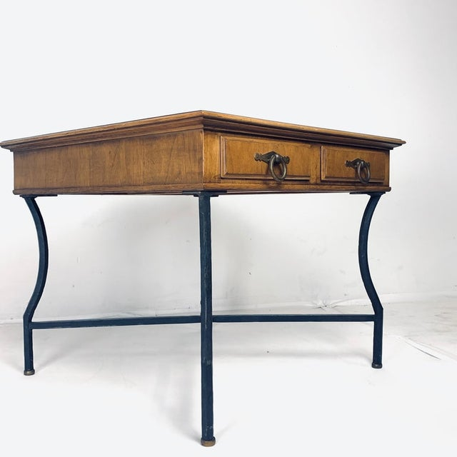 Stunning Pair of Tomlinson Inlaid Walnut Midcentury End Lamp Tables W Ring Pulls For Sale - Image 10 of 12