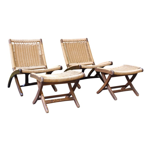 Hans Wegner Style Rope Chairs & Stools - A Pair For Sale