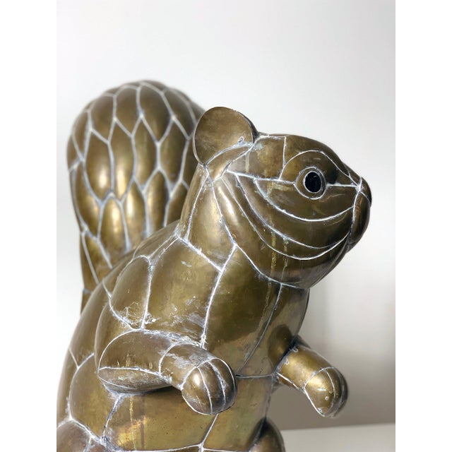 Large Signed Sergio Bustamante Brass Squirrel Sculpture, 1970's For Sale In Detroit - Image 6 of 10