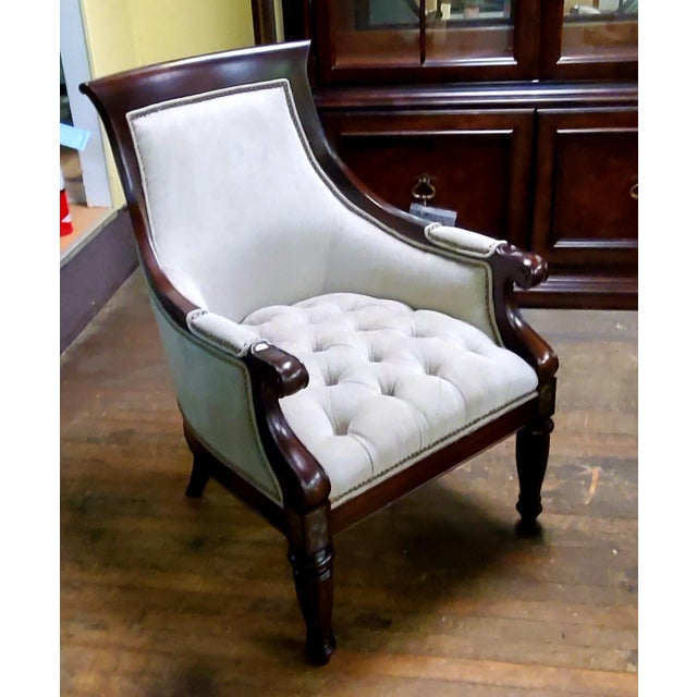 Campaign Thomasville Furniture Ernest Hemingway Anson Tufted & Leather Accent Chair For Sale - Image 3 of 13