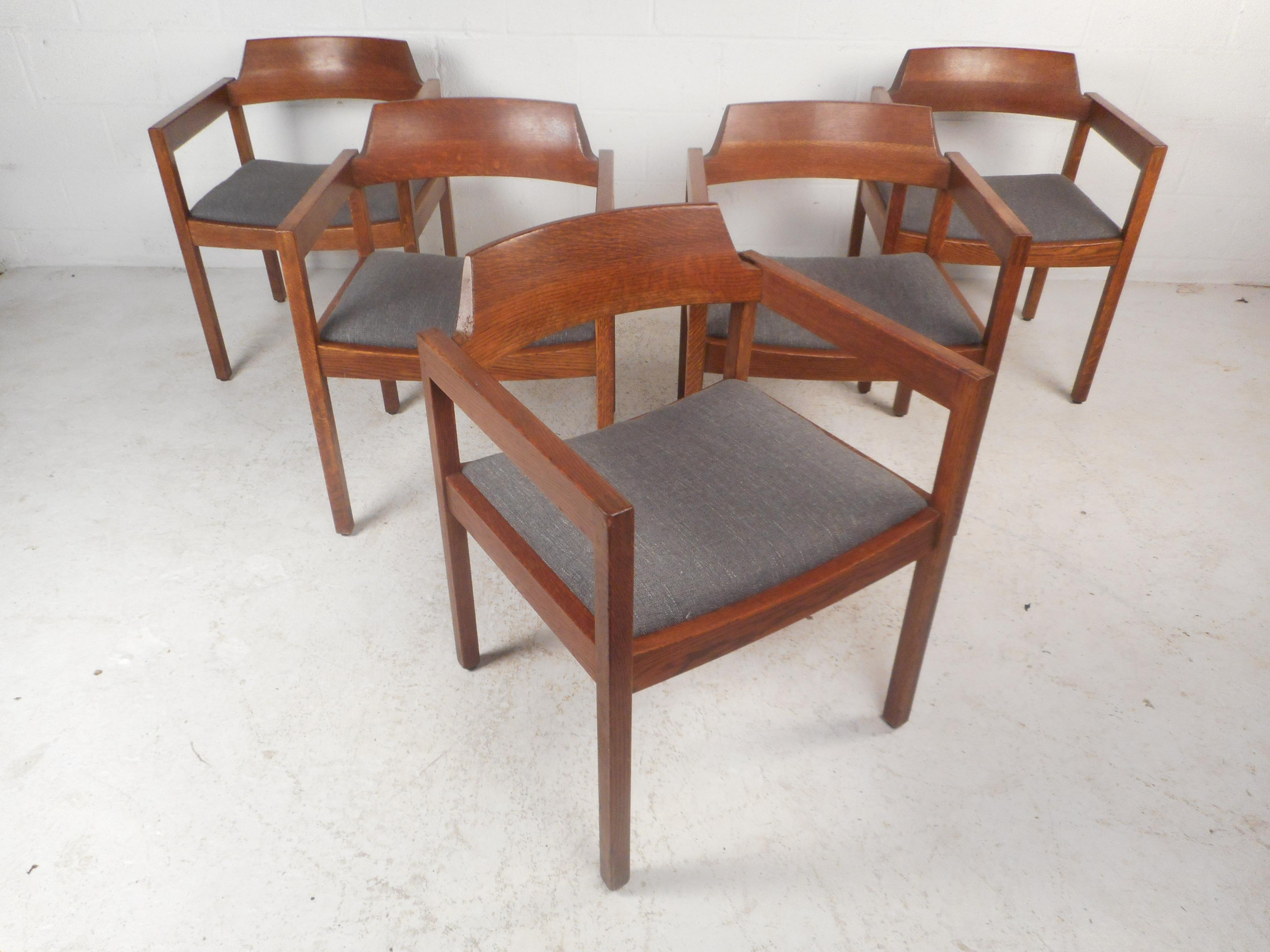 This Beautiful Set Of Five Vintage Modern Dining Chairs Feature A Solid  Walnut Frame With Arm. Mid Century ...